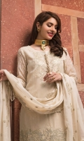 SHIRT FRONT  Chiffon Embroidered  SHIRT BACK  Chiffon Embroidered  ADDED SIDE PANEL  SLEEVES  Chiffon Embroidered with Embroidered Patch  DUPATTA  Chiffon Embroidered  TROUSER  Dyed Rawsilk with Embroidered Patch