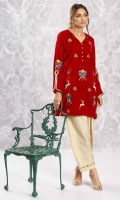 Crimson red velvet Shirt with embroidery, sequin and dabka work motifs, woven lace detailing on the sleeves and side slits, and diamonte buttons