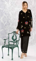 Black velvet shirt with embroidery, sequin and dabka work motifs, woven lace detailing on the sleeves and side slits, and diamonte buttons