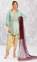 Seafoam green raw silk shirt in a flared sleeve design with sequin and dabka motifs, gota lace and gold button detailing