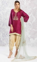 Plum purple raw silk shirt in a flared sleeve design with sequin and dabka motifs, gota lace and gold button detailing