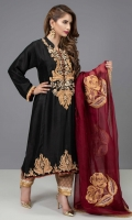 Black raw silk 2 kali kurta with embroidered and hand worked zarri, sequin and dabka motifs in shades of gold on neck and hem