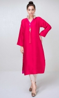 Red raw silk shirt with hot pink accents and large tassle detail