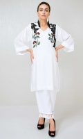 White grip silk shirt with black lace applique and hand worked stone motifs in a flared sleeve design
