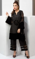 Black cotton net flared shirt with patchwork embroidery and velvet accents