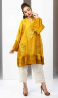 Yellow Gold cotton net flared shirt with patchwork embroidery and velvet accents