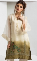 Shaded organza kurta in an off-white and olive green colour with crochet lace detailing and sequined tree motif embellishment, accompanied by off-white silk wide leg pants with embroidered organza duck motif