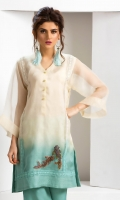 Shaded organza kurta in an off-white and blue colour with crochet lace detailing and sequined fish motif embellishment, accompanied by blue silk wide leg pants with embroidered organza panelling