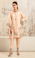 Peach raw silk shirt with embroidered patchwork butterfly motifs in shades of silver