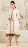 Off-white ruched cotton muslin peshwaas with gota detailing at hem