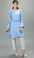 Blue Chicken kari knee length shut with embroidery on the sleeves and neck. Lace on neckline and damaan