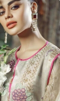 Embroidered Front on Moonlight Net Embroidered Back on Moonlight Net 1 Meter Embroidered Sleeves on Moonlight Net Inner Raw Silk 2.5 Yards Trouser Raw Silk 2.5 Yards Embroidered Missouri Dupatta