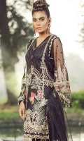 Embroidered Front on Net Embroidered Front Border 30 Inches Embroidered Back on Net 1 Meter Embroidered Back Border 30 Inches Embroidered Sleeves on Net Embroidered Trouser Border 90 Inches Inner Raw Silk 2.5 Yards Trouser Raw Silk 2.5 Yards Embroidered and Embellished Net Dupatta