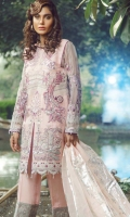 Embroidered Front on Pure Organza Embroidered Front Border 30 Inches Embroidered Back on Pure Organza 1 Meter Embroidered Back Border 30 Inches Embroidered Sleeves on Pure Organza Embroidered Trouser Border 44 Inches Inner Raw Silk 2.5 Yards Trouser Raw Silk 2.5 Yards Dupatta Foil Print