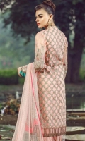 Embroidered Front on Pure Organza Embroidered Back on Pure Organza 1 Meter Embroidered Front + Back Border 60 Inches Embroidered Front Border 30 Inches Embroidered Sleeves on Pure Organza Inner Raw Silk 2.5 Yards Trouser Raw Silk 2.5 Yards Embroidered and Embellished Net Dupatta