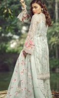 Embroidered Front on Net Embroidered Back on Net 1 Meter Embroidered Front + Back Border 60 Inches Embroidered Sleeves on Net Inner Raw Silk 2.5 Yards Trouser Raw Silk 2.5 Yards Embroidered Net Dupatta