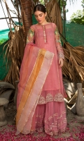 Shirt is in organza with embroidered sleeves. Sequence spray on undershirt. Organza dupatta with chiffon sharara.