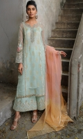 shirt pure organza with golden printing and hand embellishment on neckline. Sleeves with machine embroidery and hand embellishment. Silk pants with machine embroidery and mirror work. Spray on pure organza dupatta printing