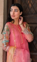 Shirt is in organza with embroidered sleeves. Sequence spray on undershirt. Organza dupatta with chiffon sharara