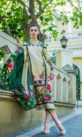 Digital Shirt        3 Mtr  Digital Silk Dupatta    2.5 Mtr  Trouser   2.5 Mtr  Silk Border 2 Yard  1 Piece Embroiderd Neck  2 Mtr Trouser Border