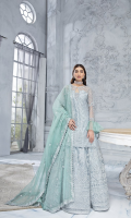 Embroidered Bareeze Net Front 1 yard Embroidered Bareeze Net Back 1 yard Embroidered Bareeze Net Sleeves 0.66 yard Embroidered Organza Contrast dupatta 2.75 yards Embroidered Organza Lehnga 3.25 yards Self Grip Trouser 2.50 yards