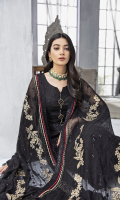 Embroidered Bareeze Net Front 1 yard Embroidered Bareeze Net Back 1 yard Embroidered Bareeze Net Sleeves 0.66 yard Embroidered Chiffon Dupatta 2.75 yards Self Grip Trouser 2.50 yards