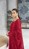 Embroidered Chiffon Front 1 yard Embroidered Chiffon Back 1 yard Embroidered Chiffon Sleeves 0.66 Yard Embroidered Chiffon Dupatta 2.75 yards Embroidered Front Border 1 yard Self Grip Trouser 2.50 yards