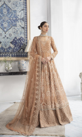 Embroidered Organza Front Body 0.66 yard Embroidered Organza Back Body 0.66 yard Embroidered Organza Front Kali 2 yards Embroidered Organza Back Kali 2 Yards Embroidered Organza Sleeves 0.66 yard Embroidered Organza Border 5 Yards Embroidered Net dupatta 2.75 yards Self Grip Trouser 2.50 yards