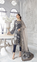 Embroidered Chiffon Front 0.66 yard Embroidered Chiffon Back 1 yard Plain Chiffon Panel 0.33 yard Embroidered Chiffon Sleeves 0.66 yard Plain Self Organza dupatta 2 yards Embroidered dupatta Palu Each Side 18 Inches Embroidered dupatta Pati 5.50 yards Embroidered Front & Back Border 2 yards Self Grip Trouser 2.50 yards