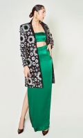 A satin silk two piece serenade of a sophisticated blouse and coordinating pants paired with a coat blooming with floral ecstasy of a remarkable black, white and green.