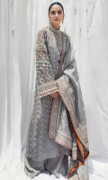 Shirt: : Organza Pants : Raw silk Dupatta : Organza