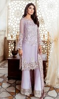Embroidered chiffon for front  Plain chiffon for back  Embroidered organza for back neck patch  Embroidered organza border for front & back  Embroidered chiffon for sleeves  Embroidered chiffon for dupatta  Raw silk for trousers  Embroidered organza border for trousers