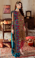 Embroidered chiffon for front  Embroidered organza border for front & sleeves  Plain chiffon for back  Embroidered organza for back neck patch  Embroidered organza border for back  Embroidered chiffon for sleeves  Embroidered chiffon for dupatta  Jacquard fabric for trousers