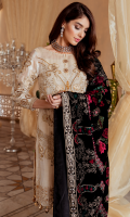 Embroidered Zarri fabric with handmade embellishment for front  Zarri Jacquard fabric for back  Embroidered organza border for front & back  Embroidered Zarri fabric with handmade embellishment for sleeves  Embroidered organza border for sleeves  Embroidered Velvet for shawl  Jamawar for trousers