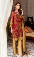Embroidered chiffon for front  Embroidered organza border for front  Embroidered chiffon for back  Embroidered organza border for back  Embroidered chiffon for sleeves  Embroidered organza border for sleeves  Embroidered organza motifs for sleeves patch  Dyed jamawar for dupatta  Jamawar for trousers