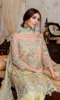 Embroidered chiffon for front  Embroidered chiffon for back  Embroidered organza border for front & back  Embroidered chiffon for sleeves  Plain chiffon or dupatta  Embroidered organza border for dupatta  Embroidered organza motifs for dupatta corner  Raw silk for trousers  Embroidered organza border for trousers