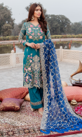 Embroidered chiffon for front  Embroidered organza for front daman patch  Embroidered organza border for front & sleeves  Embroidered chiffon for back  Embroidered organza border for back  Embroidered chiffon for sleeves  Embroidered chiffon for dupatta  Raw silk for trousers  Embroidered organza border for trousers