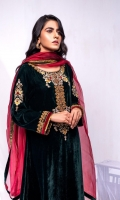 Fabric: Embroidered Velvet Flared high low Shirt, Gold Masuri Pant, Organza Dupatta.
