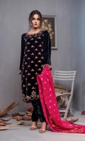 Fabric: Embroidered velvet shirt, Velvet trouser, banarasi silk dupatta.