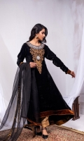 Fabric: Embroidered High Low Velvet Flared Shirt, Gold Masuri Pant, Organza Dupatta