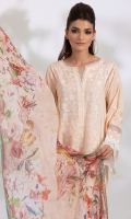 Chikankari Embroidered Front (Pima Cotton) Chikankari Embroidered Sleeve (Pima Cotton) Chikankari Embroidered Back (Pima Cotton) Dyed Trouser (Pima Cotton) Digital Print Dupatta (100% Pure Chinese Chiffon) Double Lace for Daaman & Sleeve (2.5 YD)