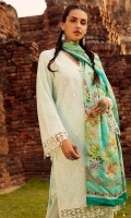 Schiffli Embroidered Front (Pima Cotton) Schiffli Embroidered Sleeve (Pima Cotton) Schiffli Embroidered Back (Pima Cotton) Dyed Trouser (Pima Cotton) Digital Print Dupatta (100% Pure Chinese Silk) Double Lace for Daaman & Sleeve (2.5 YD)