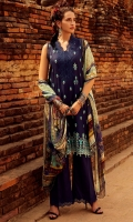 Embroidered Front (Jacquard) Embroidered Sleeve (Jacquard) Embroidered Back (Jacquard) Dyed Trouser (Pima Cotton) Digital Print Dupatta (100% Pure Chinese Chiffon)