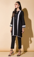 Black Jacquard With Lace Full Sleeves Fancy Buttons