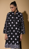 Black Embroidered Kurta Full Sleeves Fancy Buttons