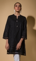 Black Chikan Kurta Full Sleeves Lace Finishing Fancy Buttons
