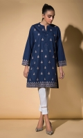 Navy Blue Chikankari Kurta Full Sleeves Fancy Buttons