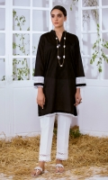 Black Jacquard Kurta Full Sleeves  Lace Finishing