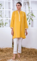 Yellow Khaddar Kurta Full Sleeves  Lace Finishing