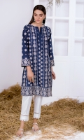 Navy Blue Embroidered Kurta Full Sleeves  Embroidered Front & Back